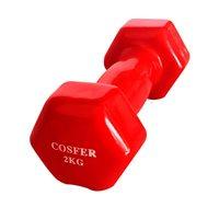 Cosfer Cosfer 2Kg Vinyl Kaplı Demir Dambıl Kırmızı Dumbell (Dambıl) Setler
