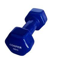 Cosfer Cosfer 3Kg Vinyl Kaplı Demir Dambıl Mavi Dumbell (Dambıl) Setler