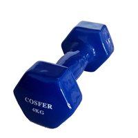 Cosfer Cosfer 4Kg Vinyl Kaplı Demir Dambıl Mavi Dumbell (Dambıl) Setler
